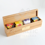 Tēju komplekts koka kastē